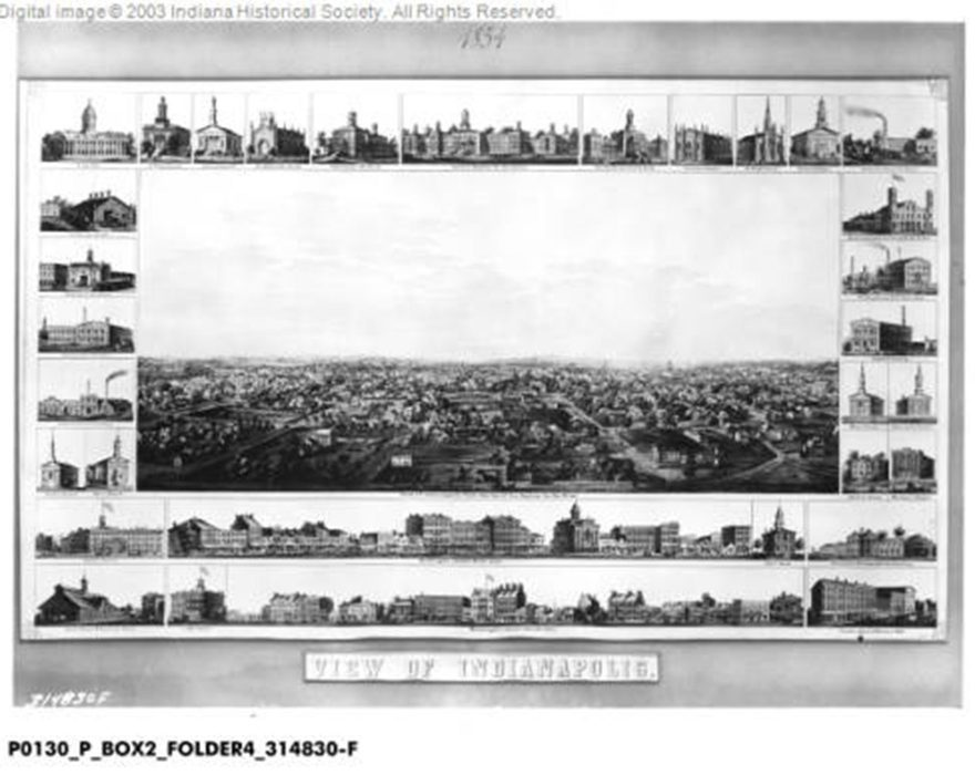 View of Indianapolis, 1854 (Indiana Historical Society)