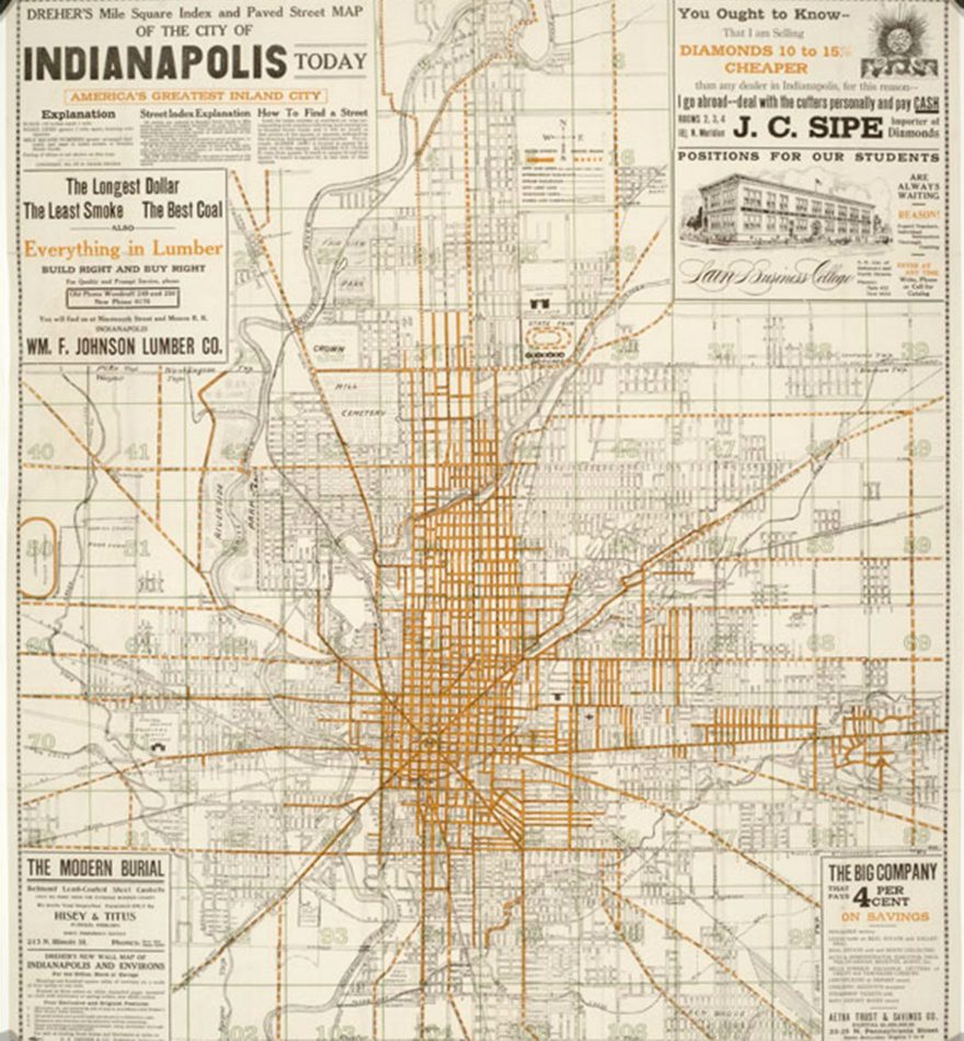 Dreher Simplex Indianapolis Streetcar Map, 1914 (Indiana Historical Society)