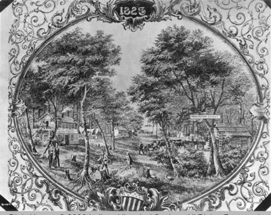 Washington Street in 1825 (Bass Photo Co. Collection, Indiana Historical Society)